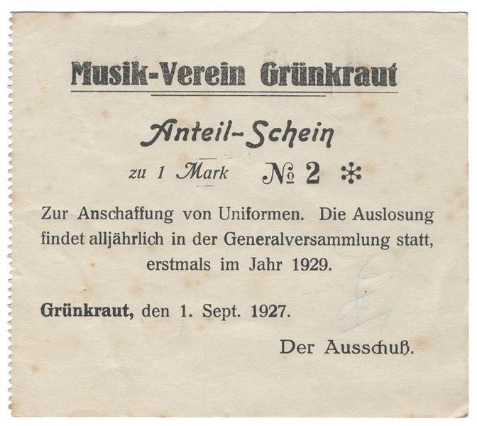 Anteilschein Musikverein Grünkraut 1927